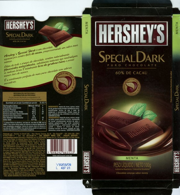 Special dark 60% de cacau, dark chocolate with mint, 100g, 30.05.2007, Hershey do Brasil Ltda., Sao Rogue, Brasil