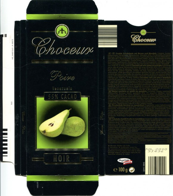 Dark chocolate with nuts and pear, 100g, 07.2009, Hofer KG, Sattledt, Austria