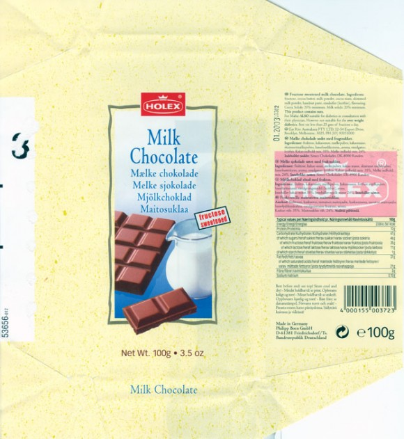 Fructose sweetened milk chocolate, 100g, 01.2003