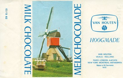 Milk chocolate, hoogmade, about 1980, Van Houten, W.Germany