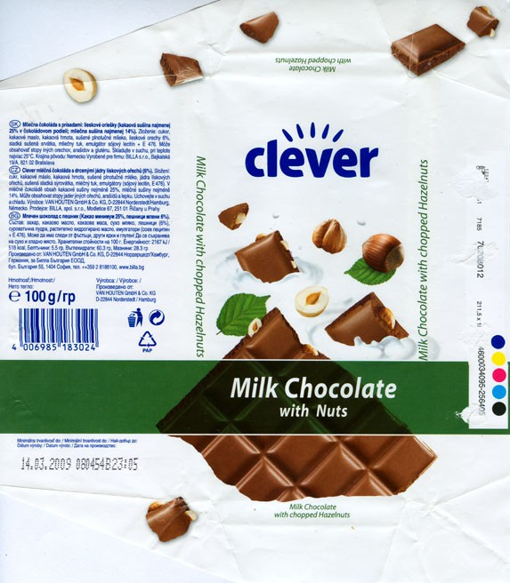 Clever, milk chocolate with chopped hazelnuts, 100g, 14.03.2008, Van Houten GmbH & Co. KG, Norderstedt/Hamburg, Germany