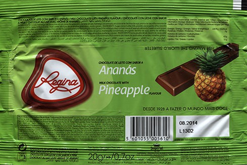 Regina, milk chocolate with pineapple flavour, 20g, 08.2014, Imperial produtos Alimentares S.A, Vila do Conde, Portugal