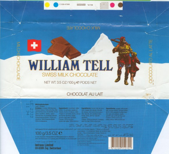 William Tell, swiss milk chocolate, 100g, 11.1993, Imtraco limited, Zug, Switzerland