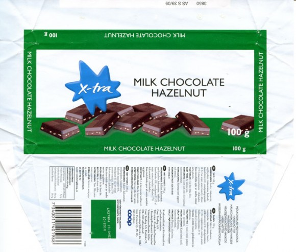 X-tra, milk chocolate with hazelnuts, 100g, 04.2009, Inex Partners Oy Espoo  made in France for COOP Trading A/S
