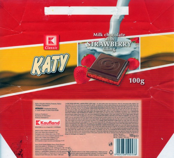 Katy ,milk chocolate with strawberry filling, 100g, 17.09.2004, Interagra, Poznan, Poland