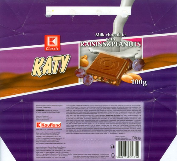 Katy ,milk chocolate with raisins and peanuts, 100g, 29.06.2005, Interagra, Poznan, Poland
