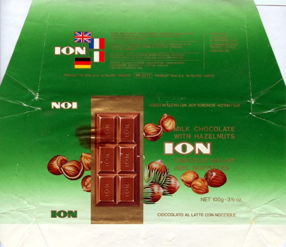Milk chocolate with hazelnuts, 100g, Ion S.A.- N.Faliro, Athens, Greece