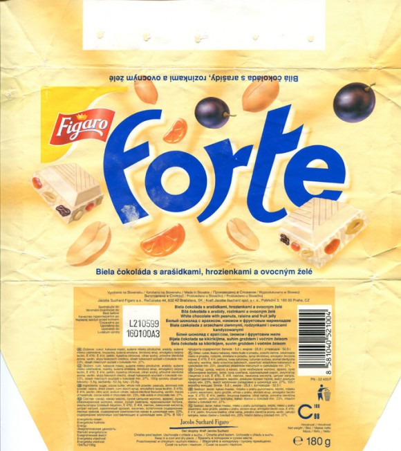 Forte, white chocolate with raisins, peanuts and fruit jelly, 180g, 21.05.1999, Jacobs Suchard Figaro a.s., Bratislava, Slovakia