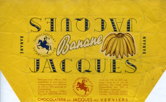Banane, chocolate with banane flavour filling, Jacques Chocolaterie, Eupen, Belgium