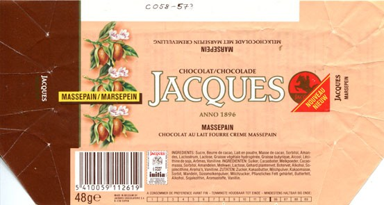 Chocolate with marzipan flavour filling, 48g, 08.1986, Jacques Chocolaterie, Eupen, Belgium