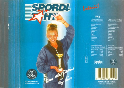 Sporditaht, milk chocolate with nuts and raisins, 50g, 15.05.1995