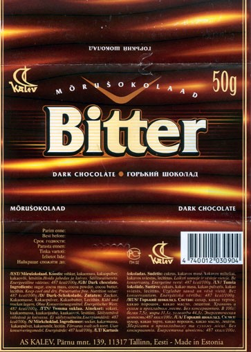 Bitter, dark chocolate, 50g, 02.20.1999