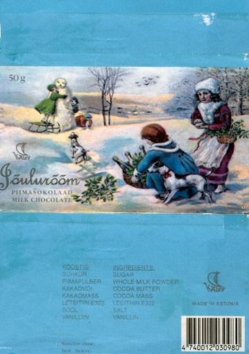 Jouluroom, milk chocolate, 50g, 1993