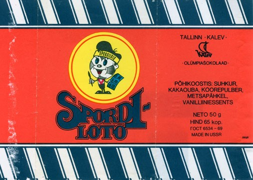 Spordiloto, milk chocolate, 50g, 31.10.1989