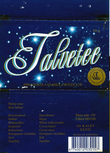 Talvetee, milk chocolate, 50g, 06.05.1995