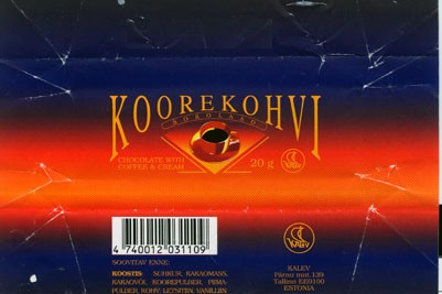 Koorekohvi, chocolate with coffee & cream, 20g, 20.01.1994