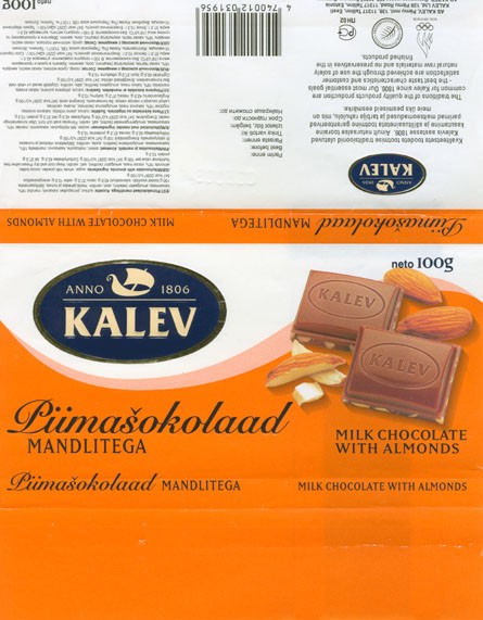 Kalev, milk chocolate with almonds, 100g, 09.2002