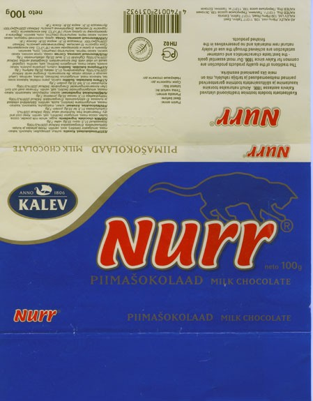 Nurr, milk chocolate, 100g, 01.2002