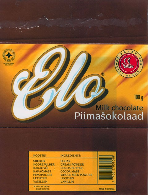 Elo, milk chocolate, 100g, 05.07.1994