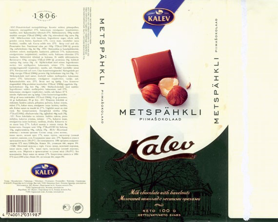 Kalev, milk chocolate with hazelnuts, 100g, 01.2004