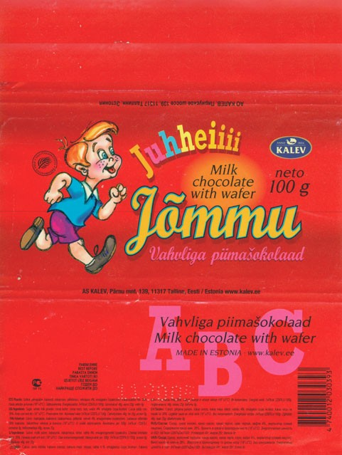 Jommu, milk chocolate with wafer, 100g, 11.2004, Kalev, Tallinn, Estonia