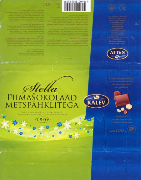 Stella, milk chocolate with hazelnuts, 100g, 12.2004, Kalev, Tallinn, Estonia