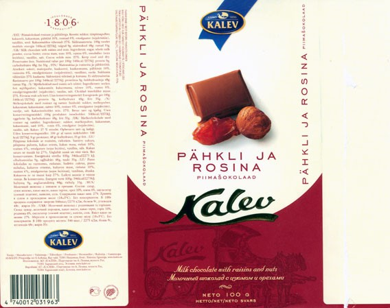 Milk chocolate with raisins and nuts, 100g, 03.2005, Kalev, Lehmja, Estonia