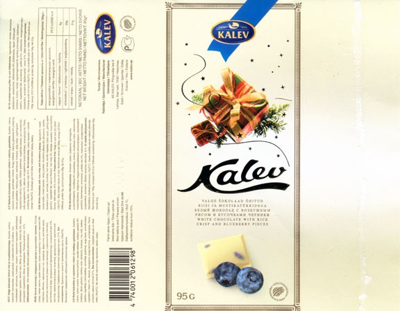 White chocolate with rice crisp and blueberry pieces, 95g, 08.2005, Kalev, Lehmja, Estonia