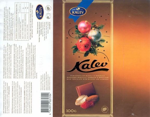 Milk chocolate with raisins and almonds, 100g, 09.2005, Kalev, Lehmja, Estonia