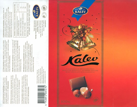 Milk chocolate with hazelnuts, 100g, 09.2005, Kalev, Lehmja, Estonia