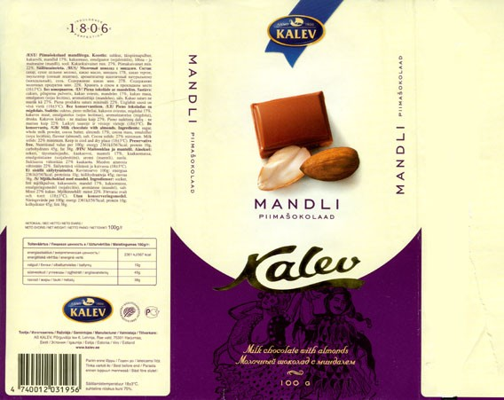 Milk chocolate with almonds, 100g, 09.2005, Kalev, Lehmja, Estonia