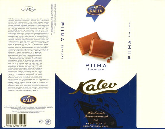 Milk chocolate, 100g, 07.2005, Kalev, Lehmja, Estonia