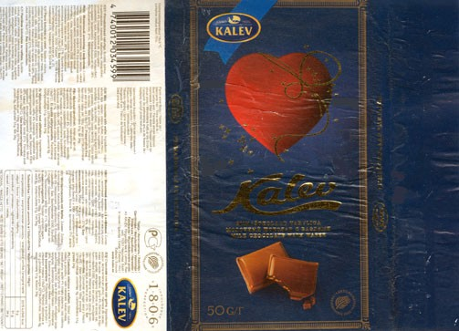 Milk chocolate with wafer, 50g, 03.01.2006, Kalev, Lehmja, Estonia