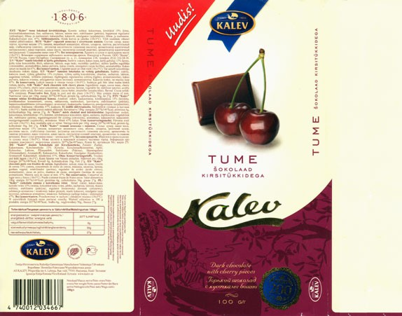 Kalev, milk chocolate with cherry pieces, 100g, 03.04.2006, Kalev, Lehmja, Estonia