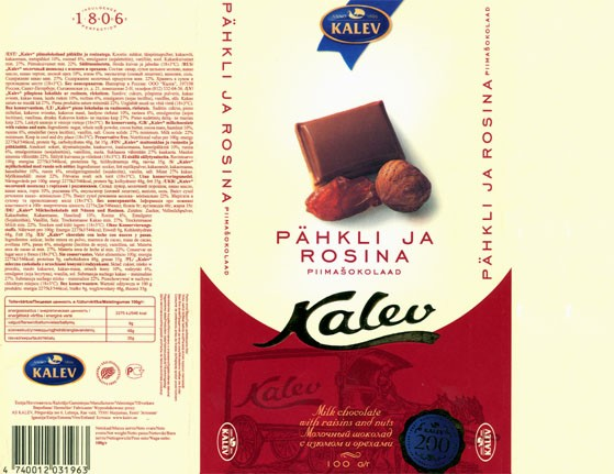 Kalev, milk chocolate with raisins and nuts, 100g, 18.07.2006, Kalev, Lehmja, Estonia