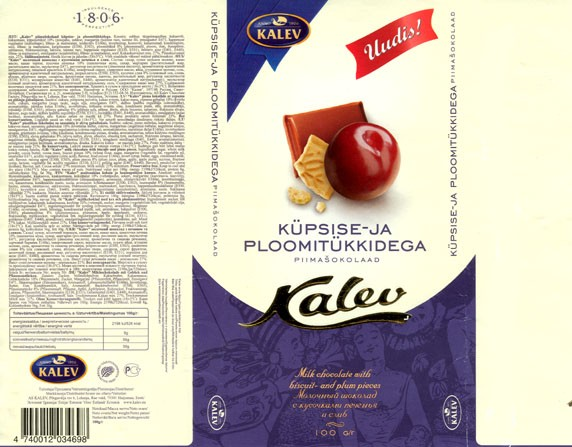 Milk chocolate with biscuit- and plum pieces, 04.09.2006, Kalev, Lehmja, Estonia