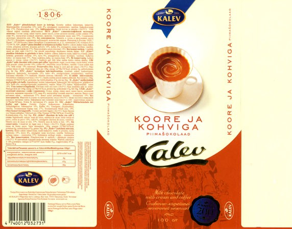 Milk chocolate with cream and coffee, 100g, 18.07.2006, Kalev, Lehmja, Estonia