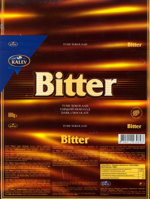 Bitter, dark chocolate, 100g, 01.11.2006, Kalev, Lehmja, Estonia