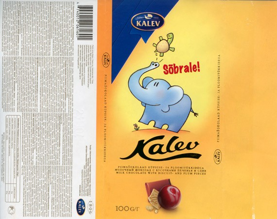 Kalev, milk chocolate with biscuit- and plum pieces, 100g, 23.11.2006, Kalev, Lehmja, Estonia