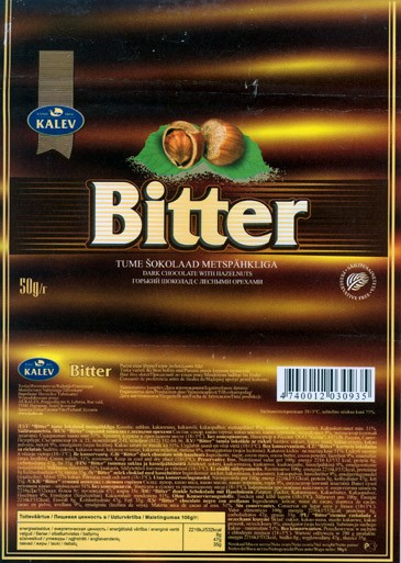 Bitter, dark chocolate with hazelnuts, 50g, 07.08.2006, Kalev, Lehmja, Estonia