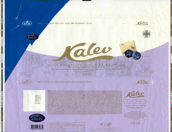 Kalev, white chocolate with rice crisp and blueberry pieces, 200g, 01.02.2007, Kalev, Lehmja, Estonia