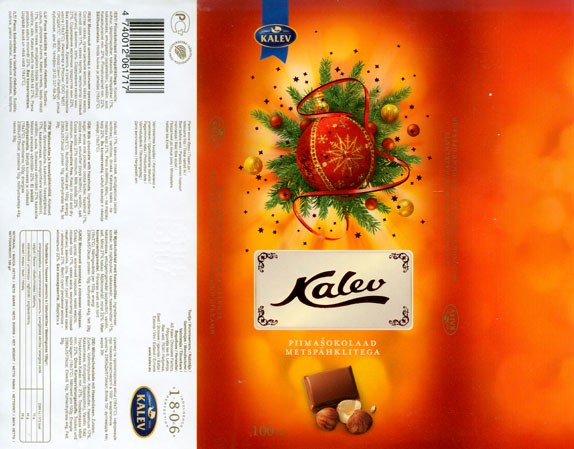 Kalev, milk chocolate with hazelnuts, 100g, 05.11.2007, AS Kalev Chocolate Factory, Lehmja, Estonia