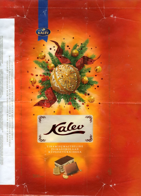 Kalev, tiramisu flavoured milk chocolate with biscuit pieces, 300g, 06.12.2007, AS Kalev Chocolate Factory, Lehmja, Estonia