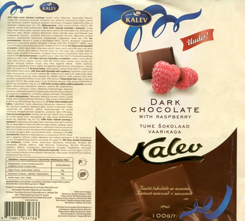 Kalev, dark chocolate with raspberry, 100g, 2008, AS Kalev Chocolate Factory, Lehmja, Estonia