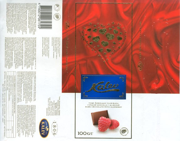 Kalev, dark chocolate with raspberry, 100g, 17.12.2007, AS Kalev Chocolate Factory, Lehmja, Estonia