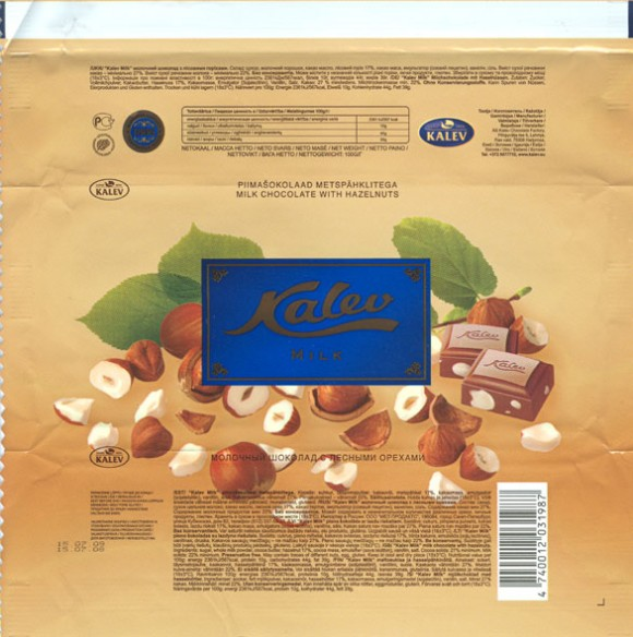 Kalev, milk chocolate hazelnuts, 100g, 15.07.2008, AS Kalev Chocolate Factory, Lehmja, Estonia