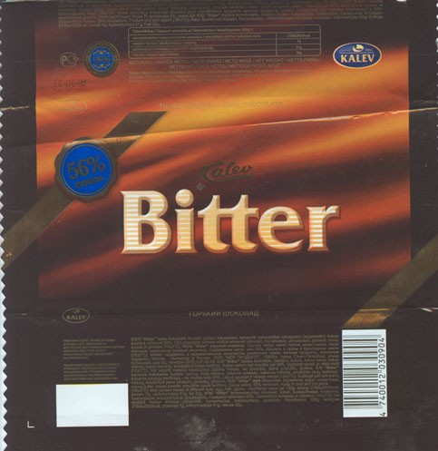 Bitter, dark chocolate, 56% cocoa, 50g, 22.07.2008, Kalev, Lehmja, Estonia