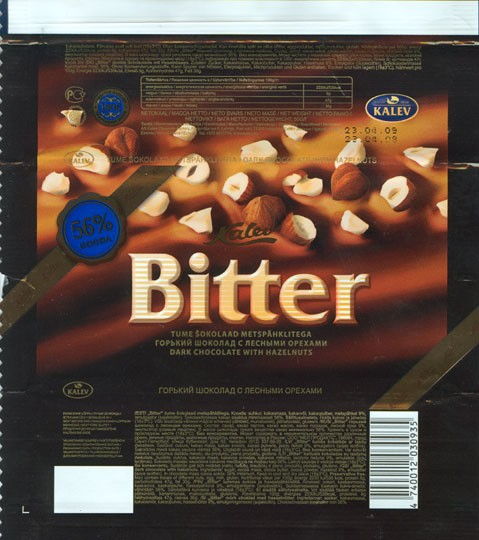 Bitter, dark chocolate with hazelnuts, 50g, 23.04.2008, Kalev, Lehmja, Estonia