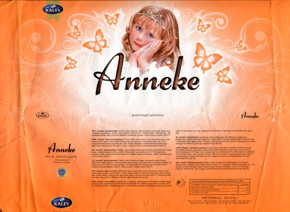 Anneke, milk chocolate, 300g, 28.06.2010, AS Kalev Chocolate Factory , Lehmja, Estonia