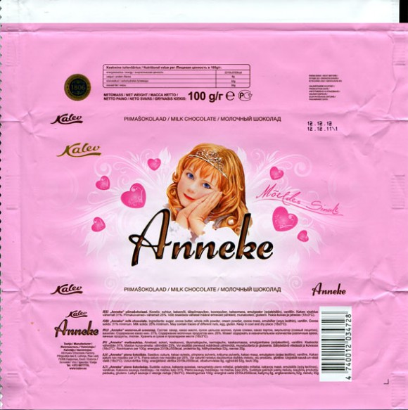 Anneke, milk chocolate, 100g, 12.12.2011, AS Kalev Chocolate Factory, Lehmja, Estonia